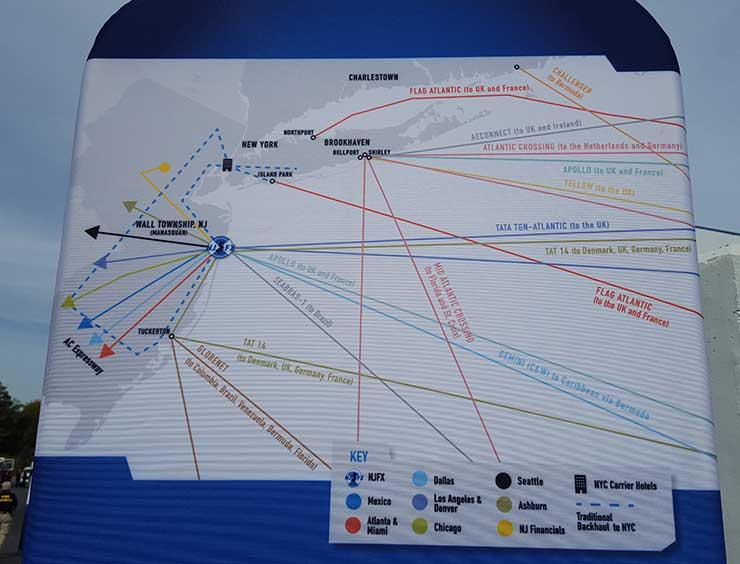 This map at NJFX details the many undersea cables that connect at landing stations along the East Coast. (Photo: Rich Miller)